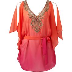 Forever New Rachel embellished kaftan (€68) ❤ liked on Polyvore featuring tops, tunics, dresses, shirts, blouses, orange, ombre pink print, ombre shirt, pink shirt and shirt tunic