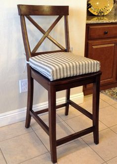 Rustic French Ticking Fabric Kitchen chair cushion, barstool, counter stool seat pad. Natural denton with black stripe. Washable. Removable. by BrittaLeighDesigns on Etsy
