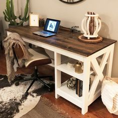 Farmhouse X Desk Free Plans for the home office