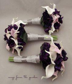 Calla Lily Bridal Bouquet Hydrangea Bridesmaid Bouquet Lavender White Purple Real Touch Calla Lily Hydrangea Wedding Flowers