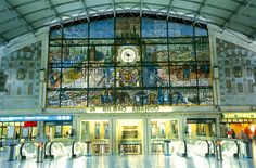 Bilbao's Abando Train Station: Basque Country, Spain, Europe: A beautiful stained-glass mural overlooks the main hall of Bilbao's Abando train station. Travel 2017, Summer Travel, Biarritz, Basque Country, Spain And Portugal, Spain Travel, France, Train Station, Stained Glass