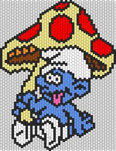 Trippy Smurf how cute Melty Bead Patterns, Hama Beads Patterns, Peyote Patterns, Beading Patterns, Cross Stitch Patterns, Perler Bead Designs, Perler Bead Templates, Perler Bead Emoji, Diy Perler Beads