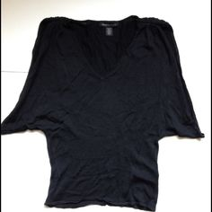 Kenneth Cole sweater Black light cotton v neck sweater with huge cut out sleeves. Kenneth Cole Sweaters V-Necks
