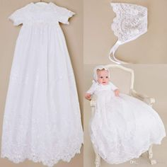 Custom made 2016 New Lovely Short Sleeve Baptism Gown White Ivory Lace Christening  Gowns Dress for Baby Girls and Boys Cheap Toddler baptism 5f4ddccb095
