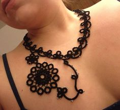 Handmade asymmetrical tatted beaded lace necklace by CrafteroniNCheese.