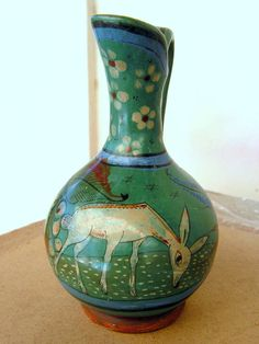 Vintage Tonala Mexico Pottery Pitcher Green with by retrosideshow, $175.00