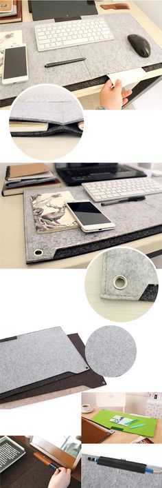 [Visit to Buy] Fashion Computer Peripherals Desk Mat Modern Table Felt Office Desk Mouse Pad Holder Wool Felt Laptop Cases Cushion Mouse Pads #Advertisement