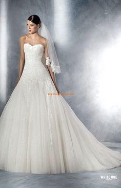 robe de mariée col en coeur traîne court-simple evasée
