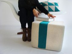 Pouf /Ottoman/ Natural Linen With Teal Stripe/ Minimalistic/ Modern Floor Pouf/ Additional Seating/Unique Side Table/ Zigzag Studio Design