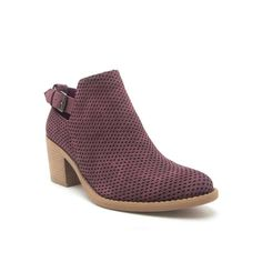 Qupid Shoes Tobin Perforated Ankle Booties in Wine