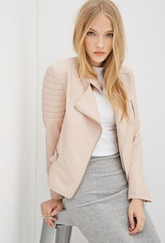 Sheer stripes. Pastel pink. Leather jackets. We love this edgy