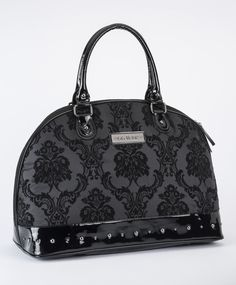 Damask Overnighter Bag in Midnight Black | Rock Rebel