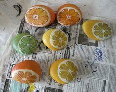 Orange/Lemon/Lime Halfs - painted rocks
