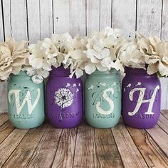 Set of 4 Pint Size Ball regular mouth Mason Jars **Flowers Not Included** These hand painted jars are perfect for your shabby chic decor, farmhouse or rustic home decor. Hand painted to spell out WISH, with the I being replaced with a Dandelion. Painted only on the outside to