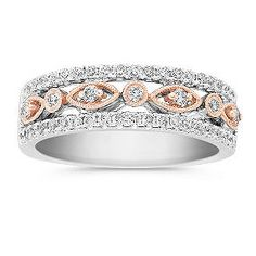Round Diamond Anniversary Band In Two Tone Gold Bands