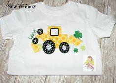 St Patrick Day shirt or bodysuit Shamrock dump truck by sewwhimzy, $24.00