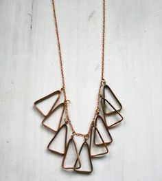 antiqued copper triangle necklace || by chain chain chained, scoutmob shoppe