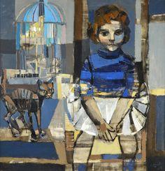 """ALONSO, Carlos Argentino 1929- """"PALOMA, EL GATO Y EL CANARIO"""" Pintura al óleo sobre tela. Firmada C. ALONSO y fechada 1959 abajo a la derecha. Medidas: 100 x 100 cm"""