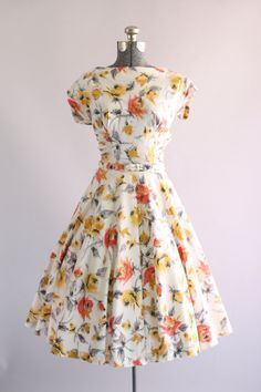 Vintage 1950s Dress / 50s Cotton Dress / Gold and Gray Floral Dress w/ Rhinestones S
