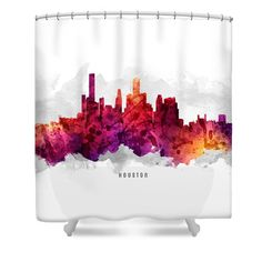 Houston Texas Cityscape 14 Shower Curtain by Aged Pixel