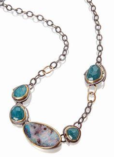 Sydney Lynch  |  Amazonite & Boulder opal necklace; oxidized silver, 18k & 22k gold. Necklace length is 18 inches. $3580.   |   http://sydneylynch.com/amazonite-boulder-opal-necklace/