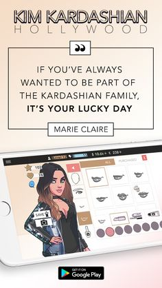 Have you ever dreamt of being a celebrity like Kim Kardashian? Rise to fame and fortune for free when you download Kim Kardashian: Hollywood today. Create your own aspiring celebrity and customize your look with hundreds of style options, including Kim Kardashian�s personal picks!