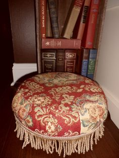 Small Antique Footstools   50s Red Tapestry Footstool - Golden Fringe - Small