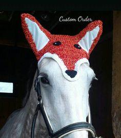 Foxy Fox Horse Fly Veil Ear Bonnet CUSTOM by CreativeSeaHorse