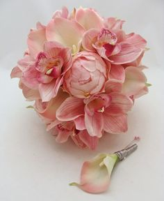 Peonies, Calla Lilies, Cymbidium Orchids - Bridal Bouquet. Calla lily - Grooms Boutonniere.