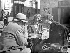 "Robert Morley, Jennifer Jones and John Huston between scenes of ""Beat the Devil"", 1953"