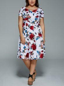 Plus Size V Neck Floral Print Dress