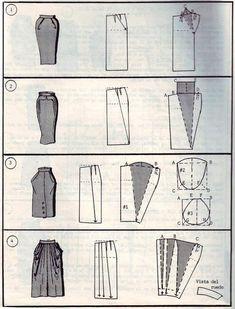 Verschiedene Rockschnitte - Different Skirt Pattern. I like number 4 Diy Clothing, Sewing Clothes, Clothing Patterns, Sewing Patterns, Shirt Patterns, Techniques Couture, Sewing Techniques, Pattern Cutting, Pattern Making
