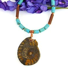 Ammonite Fossil Pendant Necklace Handmade Turquoise Magnesite Copper | ShadowDogDesigns - Jewelry on ArtFire