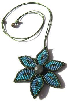 Macrame flower necklace with beads design it by makramaSMA