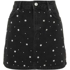 Topshop Moto Star Stud Denim Skirt (945 MXN) ❤ liked on Polyvore featuring skirts, mini skirts, bottoms, saias, washed black, party skirts, topshop skirts, denim miniskirts, going out skirts and topshop mini skirt