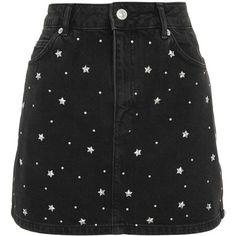 TopShop Moto Star Stud Denim Skirt ($68) ❤ liked on Polyvore featuring skirts, washed black, topshop skirts, studded skirt, embellished skirts, denim skirt and knee length denim skirt