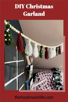 Make this DIY Christmas Holiday Garland Now using the Free Pattern on The Hook Nook Life Blog! You can even grab a complete DIY Project Kit!