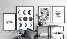 Lover Moon Feathers Quarter Circle Canvas Prints Wall Decals Art Decor Unframed IDCCV-BO-000205