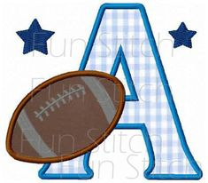 Football sports applique font letters machine embroidery design