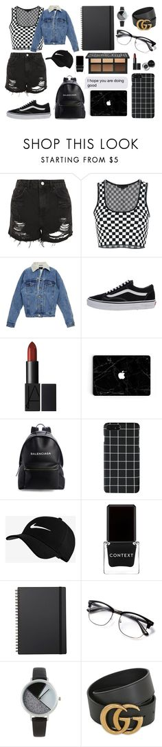 """""""first day back to school"""" by tbhmacy8 ❤ liked on Polyvore featuring Topshop, Alexander Wang, Vans, Balenciaga, NIKE, Bobbi Brown Cosmetics, Context, Muji, BKE and Gucci"""