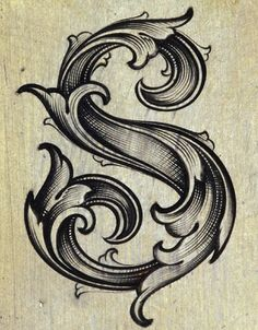 Beautiful letter S - something like this on a bedspread.