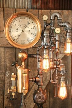"""This design is made to order and will take about 4 weeks to ship, Feel free to call and discuss options and timelines. We will use a similar antique 10"""" gauge and an antique 1 quart steam oiler.  Each lamp has a unique serial number and signed, (serial numbers can be tracked on ourwebsite) Copyrighteddesign, We will register this design with the copyright office as a work of art/sculpture Amazing antique steam gauge! This is one of the top 5 gauges we have used! Measures 10&q..."""