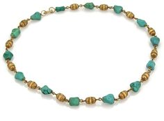 Tiffany & Co. 18K Yellow Gold Turquoise Nugget & Tube Link Necklace