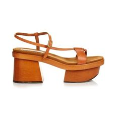 Stella McCartney Altea faux-leather block-heel platform sandals (16.716.745 VND) ❤ liked on Polyvore featuring shoes, sandals, tan, faux leather sandals, vegan sandals, tan shoes, platform sandals and tan block heel sandals