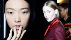 We love this nude nail trend with burgundy accents at the Prabal Gurung show!