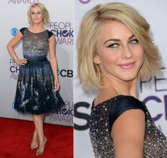 Julianne Hough's wavy bob! And a celebrity is ACTUALLY wearing a MODEST and Cute dress. Props to her!