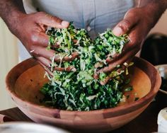 Bryant Terry preparing Napa Cabbage and Kale Coleslaw