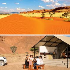 Namib Desert Lodge is situated below striking fossilised dunes in the Sossusvlei area in the Namib Desert, where one you'll  be awe-struck by the natural beauty and sunsets behind the red dunes.  #namibia #namibdesert #camping #explore #africa #dunes #nature
