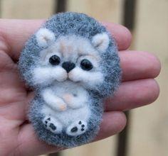 Hedgehog Funny Handmade Brooch Sculpture Artist Neede Felted Wool 2.5in