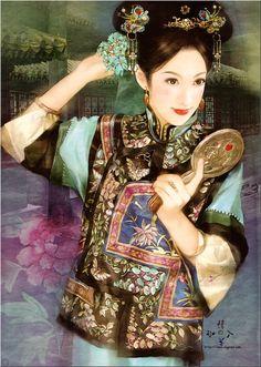 Chinese painting of beautiful woman